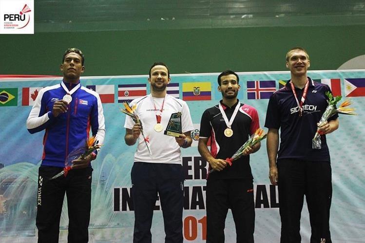 Kevin Cordón ganó el oro y el himno nacional de Guatemala retumbó en Perú. (Foto Prensa Libre: Cortesía Torneo Internacional de Perú)