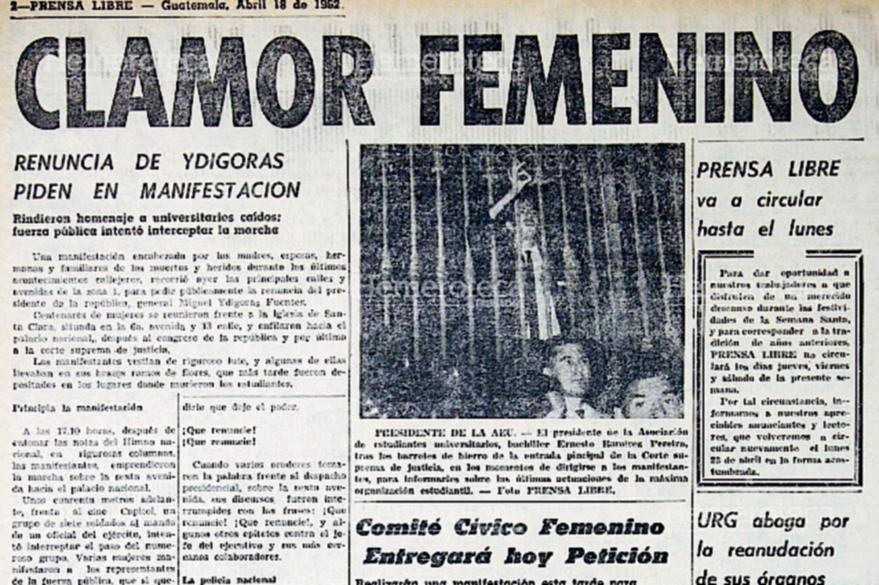 Nota de Prensa Libre informando sobre protestas en contra de Ydígoras en 1962: (Foto: Hemeroteca PL)