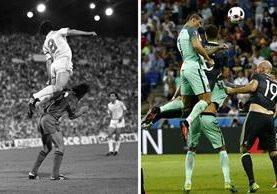 La comparativa entre el salto de Santillana y Crisrtiano Ronaldo. (Foto Prensa Libre: EFE)
