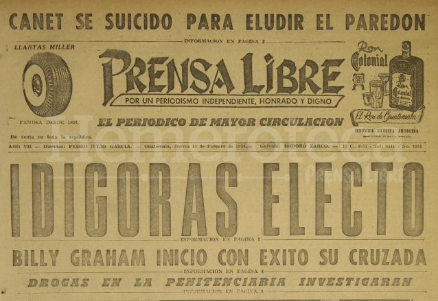 Titular de Prensa Libre del 13 de febrero de 1958 informando sobre la elección de Ydígoras como nuevo presidente de la República. (Foto: Hemeroteca PL)
