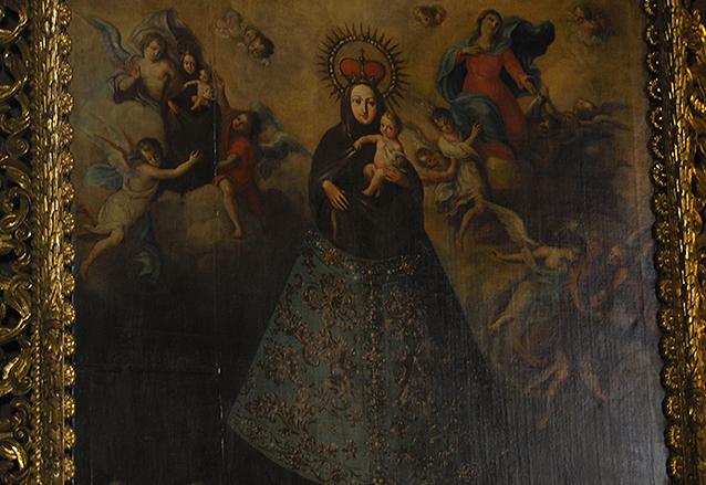 Detalle de la pintura titulada Fundación del Convento de Nuestra Señora del Pilar y que se encuentra en el presbiterio del Templo de Capuchinas, obra de Merlo.  (Foto: Néstor Galicia)