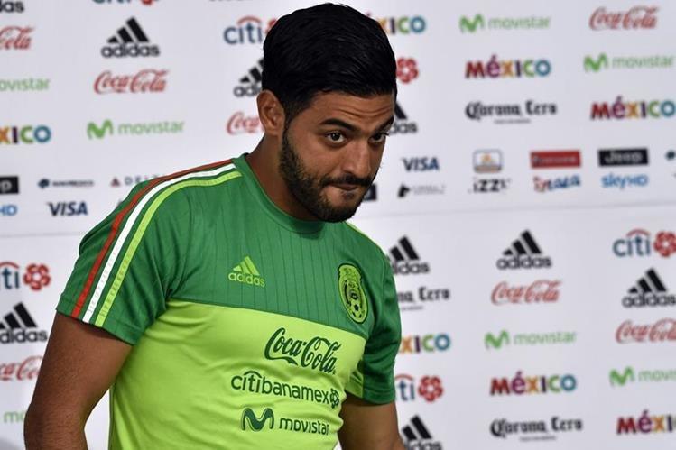 Carlos Vela durante la conferencia de prensa del tri previo a jugar con Honduras. (Foto Prensa Libre: AFP)