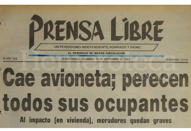 Titular de Prensa Libre del 13 de septiembre de 1992. (Foto: Hemeroteca PL)