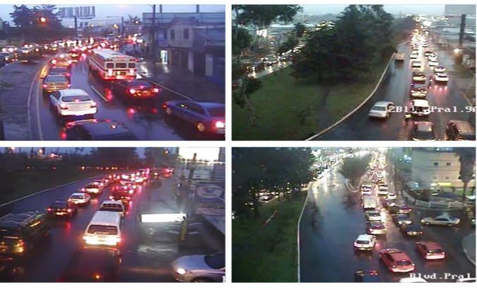 Afluencia en bulevar San Cristóbal hacia ruta Interamericana. (Foto Prensa Libre: Tránsito Mixco).