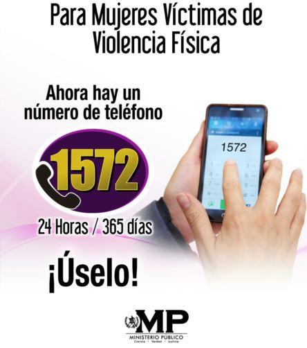 El afiche explica sobre el número telefónico donde se podrá denunciar violencia contra las mujeres. (Foto Prensa Libre: MP)