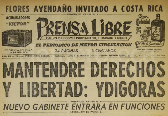 Titular de Prensa Libre del 3/1/1958. (Foto: Hemeroteca PL)