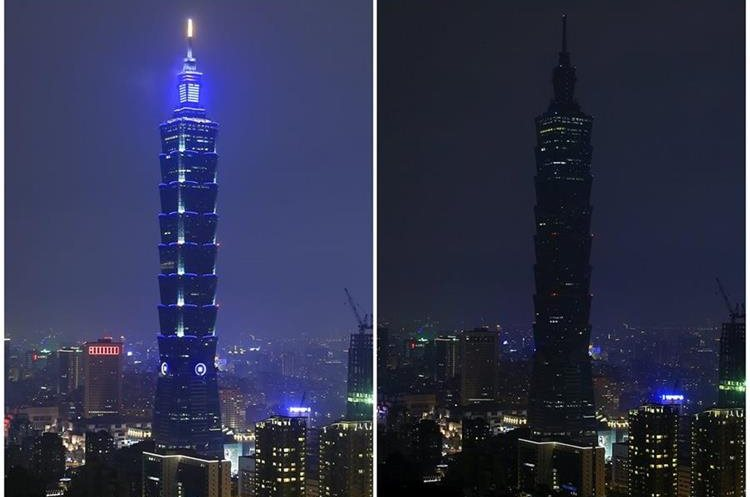 RIT02. Taipei (Taiwan), 19/03/2016.- A composite photo of two images with lights on (top) and off (below) showing the Taipei 101 skyscraper marking the Earth Hour 2016, in Taipei, Taiwan, 19 March 2016. Earth Hour takes place worldwide at 8.30 p.m. local time and is a global call to turn off lights for 60 minutes to raise awareness of the danger of global climatic change. EFE/EPA/RITCHIE B. TONGO