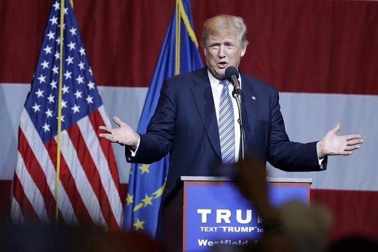 El candidato republicano, durante un discurso en Westfield, Indiana. (Foto Prensa Libre: AP).