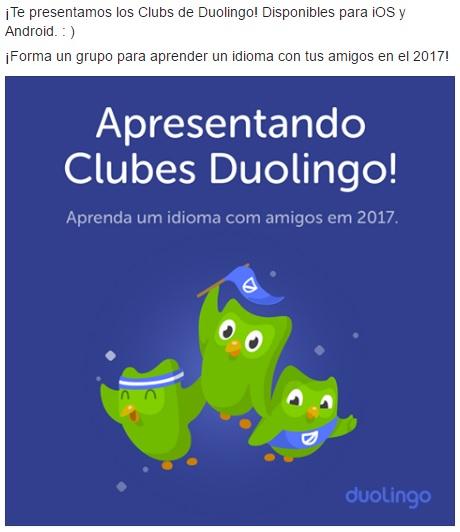 Así anunció Duolingo los nuevos cxlubes en su cuenta oficial de Facebook.