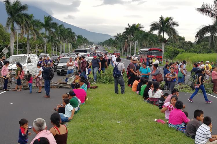 Los manifestantes han colocado ramas para impedir el paso de vehículos en el km 55 de la Autopista Palín-Escuintla. (Foto Prensa Libre: Enrique Paredes).