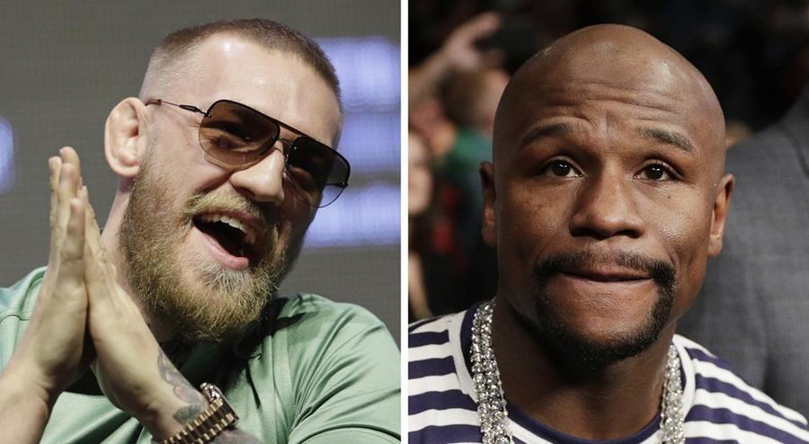 El peleador irlandés de MMA Conor McGregor y el boxeador estadounidense Floyd Mayweather pelearán el próximo 26 de agosto en Las Vegas. (Foto Prensa Libre: AP)