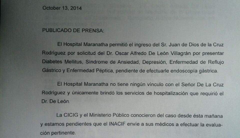 Comunicado divulgado por el Hospital Maranatha haciendo saber las razones médicas que mantienen a Rodríguez internado.