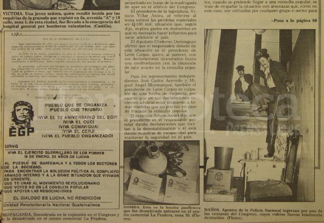 Detalle de la nota del 21 de enero de 1994 donde aparece la propaganda encontrada en los diferentes atentados atribuidos al Ejército Guerrillero de los Pobres. (Foto: Hemeroteca PL)