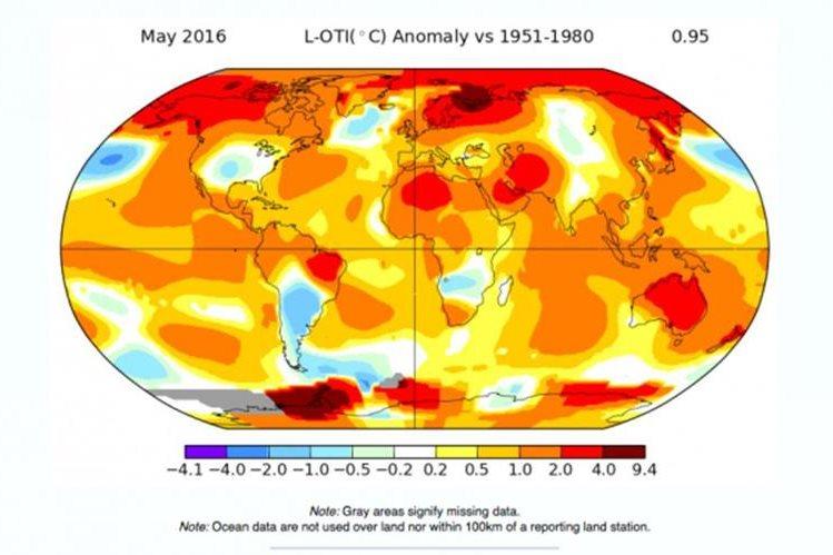 Infografía de la Hasa muestra la temperatura media mundial del mes de mayo.