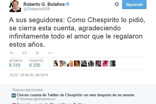 """<p>La cuenta de Roberto Gómez Bolaños en Twitter será cerrada de acuerdo a sus últimos deseos. (Foto Prensa Libre: Internet)<br _mce_bogus=""""1""""></p>"""