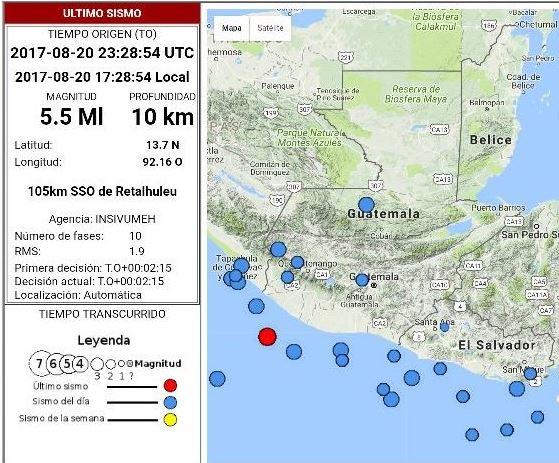 Se registra un temblor de 5.5 grados en el territorio nacional. (Foto Prensa Libre: Cortesia)