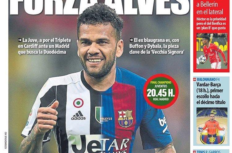 """Aunque ya no juega en el Barcelona, Mundo Deportivo le envió su """"forza"""" a Dani Alves. (Foto Prensa Libre: Mundo Deportivo)"""