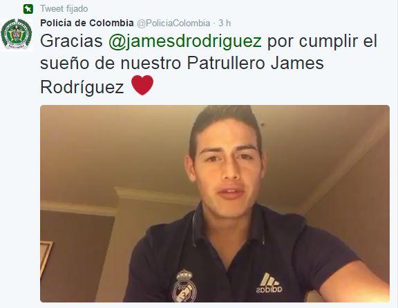 La policía colombiana agradeció en sus redes sociales el mensaje que James le transmitió a su tocayo. (Foto Prensa Libre: Twitter)