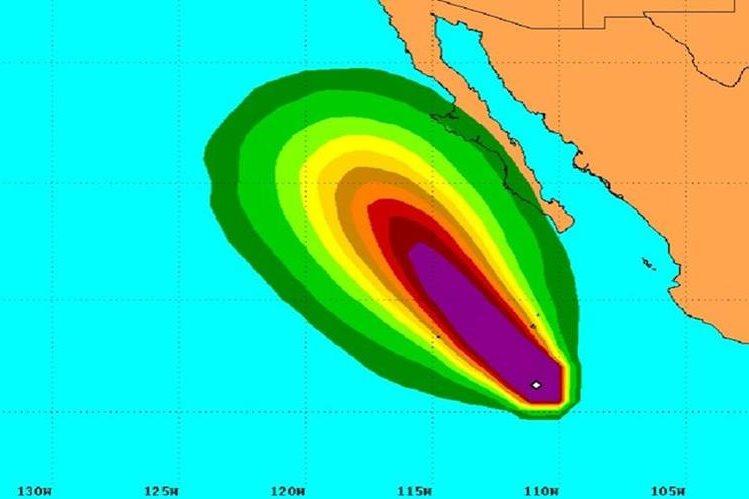Ubicación del huracán Linda en el Pacífico mexicano.