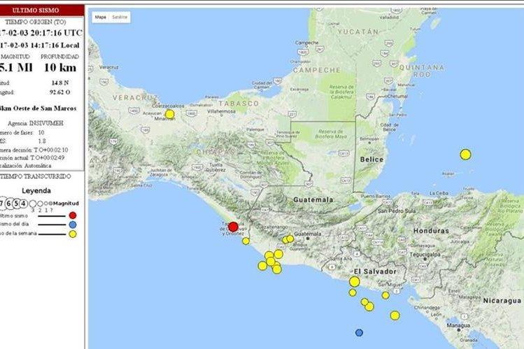 Mapa de ubicación del epicentro del temblor registrado a 78 km de San Marcos. (Foto Prensa Libre: Conred)