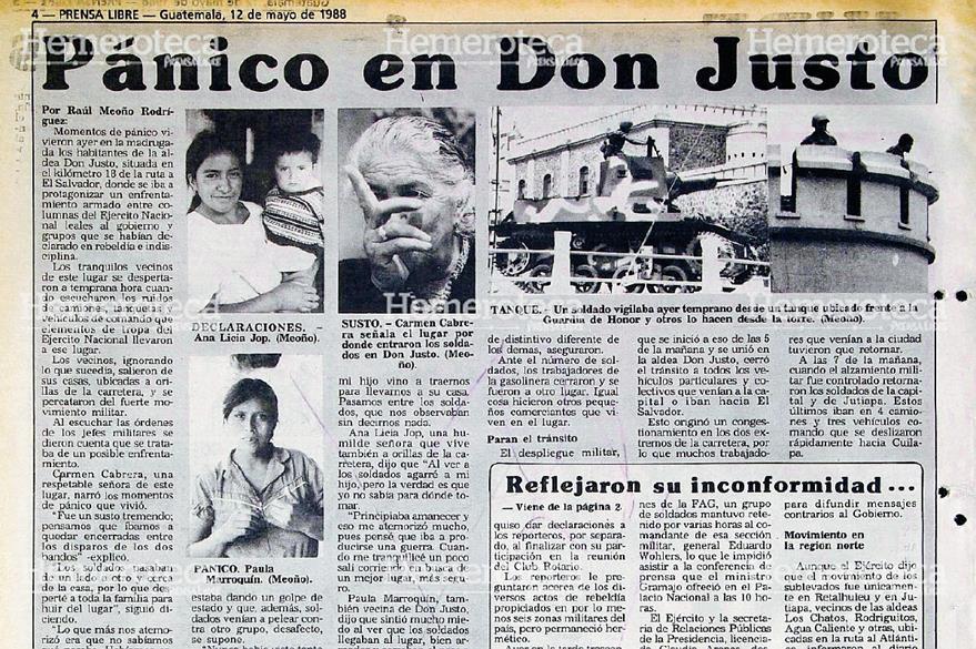 Nota periodística de la tensa situación vivida en la aldea Don Justo, a raíz del intento de golpe de Estado. (Foto: Hemeroteca PL)