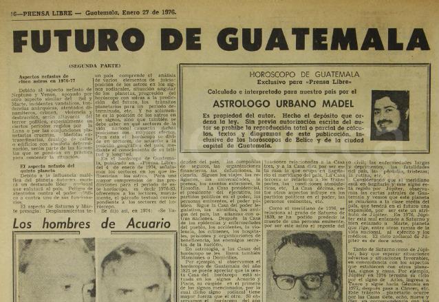 El horóscopo para la ciudad de Guatemala fue publicado el 27 de enero de 1976, 8 días antes del fatídico Terremoto. (Foto: Hemeroteca PL)