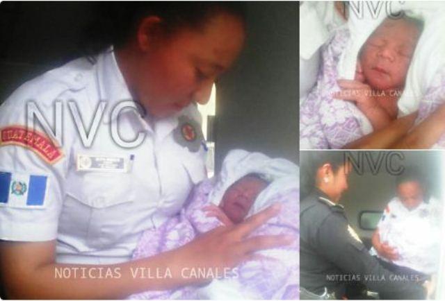 Bomberos brindan asistencia a recién nacido abandonado en vehículo. (Foto Prensa Libre: @Noticias_VC)
