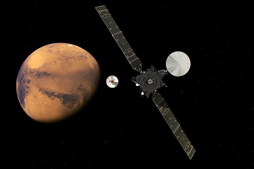 Foto ilustrada muestra otro ángulo de como fue el descenso de modolo sobre Marte. (AP)