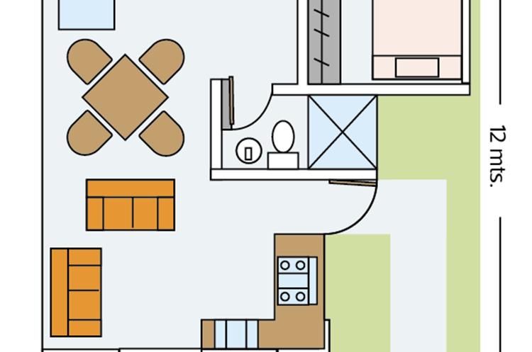 Esta es la destribución de los ambientes en las casas que se construirán para los damnificados.