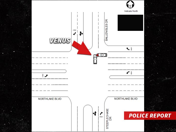 Diagrama de como ocurrió el accidente de Venus Williams.  (Foto Prensa Libre: tomada de TMZ)