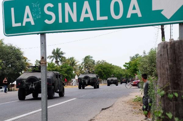 El Ejército mexicano patrullan las calles de Culiacán, Sinaloa, México,