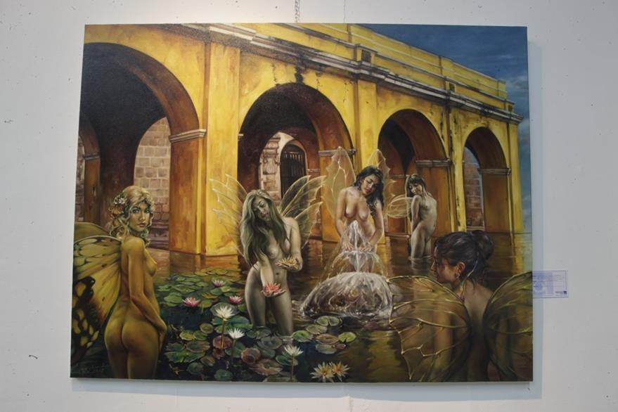 La obra de Manolo Gallardo se encuentra en una exposición en la Enap (Foto Prensa Libre: Edwin Berci‡án)