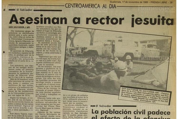 Prensa Libre dio a conocer el 17/11/1989 el asesinato de los sacerdotes jesuitas.(Foto: Hemeroteca PL)