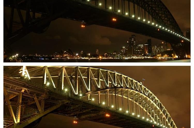 SYD. Sydney (Australia), 19/03/2016.- In a long exposure composite image, the Sydney skyline is seen during (above) and after Earth Hour (below) in Sydney, from Milsons Point, Australia, 19 March 2016. At 8.30pm Australian Eastern Time, Sydney residents turn off their lights for just one hour, as a sign of their commitment to reduce global warming, with the movement now celebrated in over 172 countries and over 7000 cities and towns worldwide. EFE/EPA/SAM MOOY AUSTRALIA AND NEW ZEALAND OUT