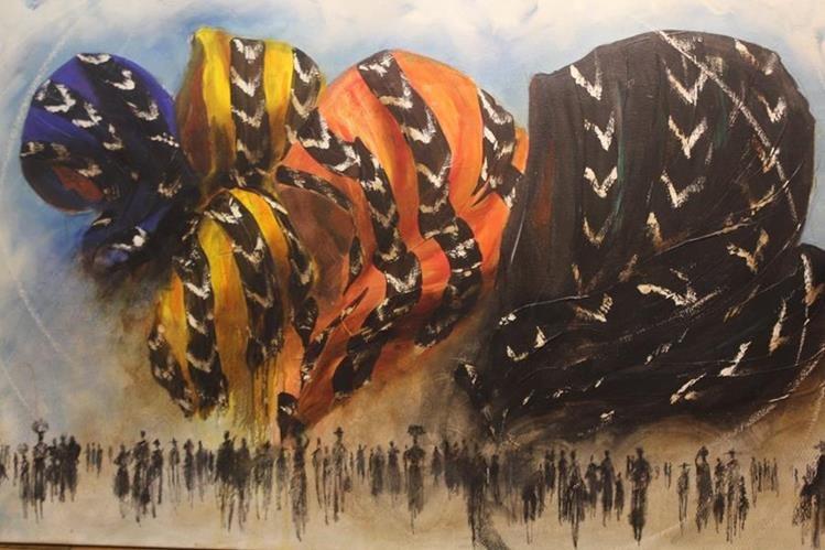 Una de las pinturas del artista Mendel Samayoa.(Foto Prensa Libre: Fred Rivera)