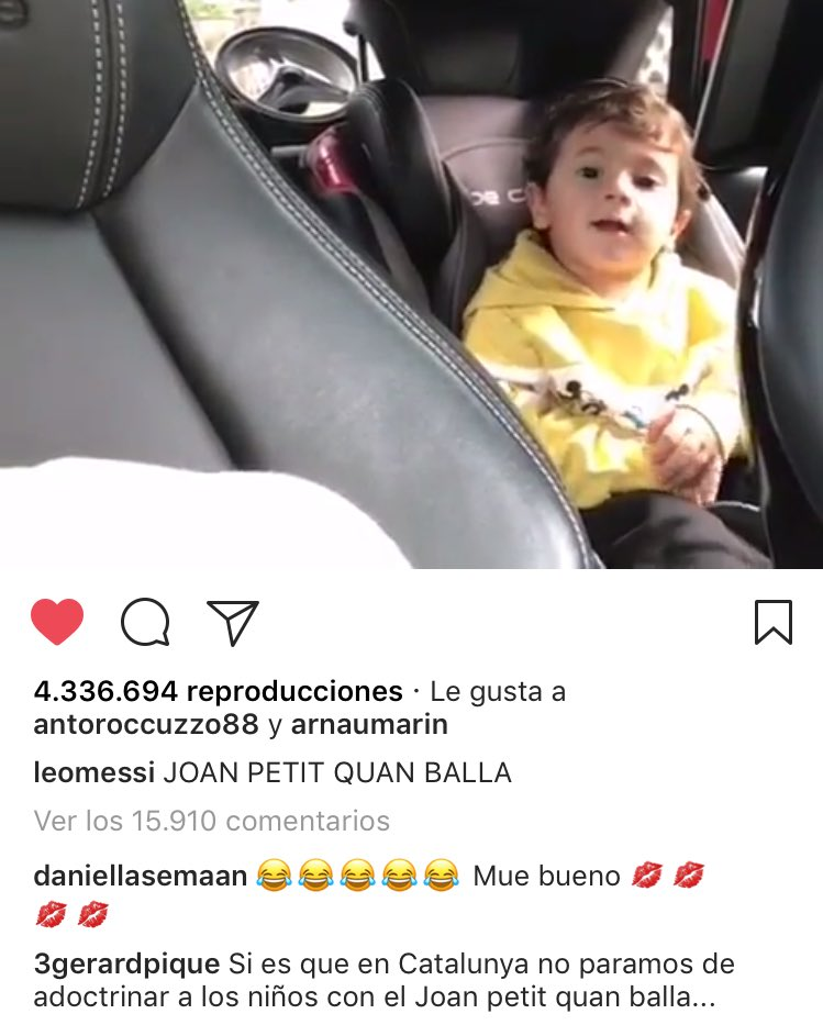 El comentario de Piqué al video de Messi causó polémica entre los seguidores de ambos. (Foto Prensa Libre: Instagram)