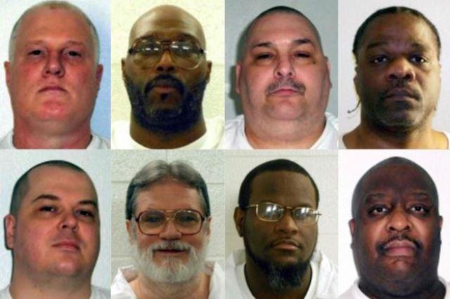 Ocho hombres que el estado de Arkansas planeaba ejecutar en un principio a lo largo de 11 días. La ejecución de Jason McGehee (abajo a la izquierda) se ha retrasado 30 días. AFP