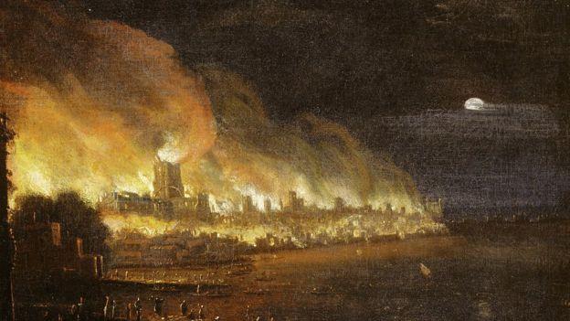 El fuego se extendió rápidamente y destruyó gran parte de la ciudad. MUSEO DE LONDRES