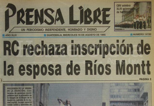 Titular de Prensa Libre del 16 de agosto de 1995. (Foto: Hemeroteca PL)