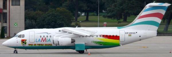 La aerolínea LaMia, responsable del avión que se estrelló en Colombia. (AFP).