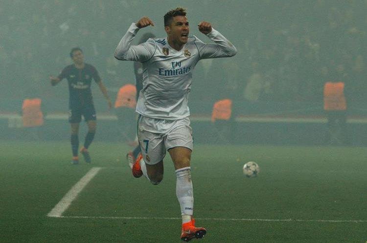 Así festejo Cristiano Ronaldo el 1-0 del Real Madrid.