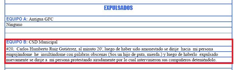 Esta es el acta del partido, que presentó el árbitro Ever López.