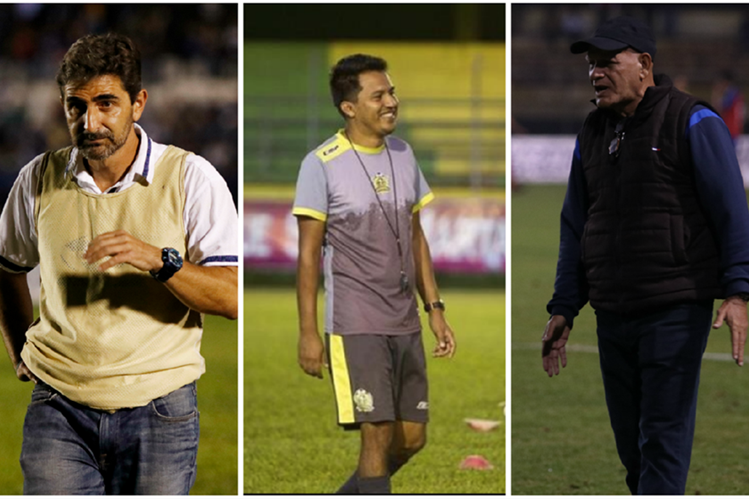 Los técnicos guatemaltecos Fabricio Benítez, Amarini Villatoro y Wálter Claverí son los estrategas sensación del Clausura 2018. (Foto Prensa Libre: Eduardo Sam Chun y Raúl Juárez)
