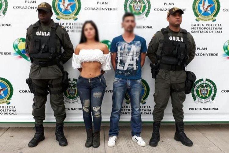 """Paulina Díaz fue capturada el martes último junto a un hombre conocido como alias """"la Bruja"""". (Foto Prensa Libre: Policía Cali / Twitter)"""