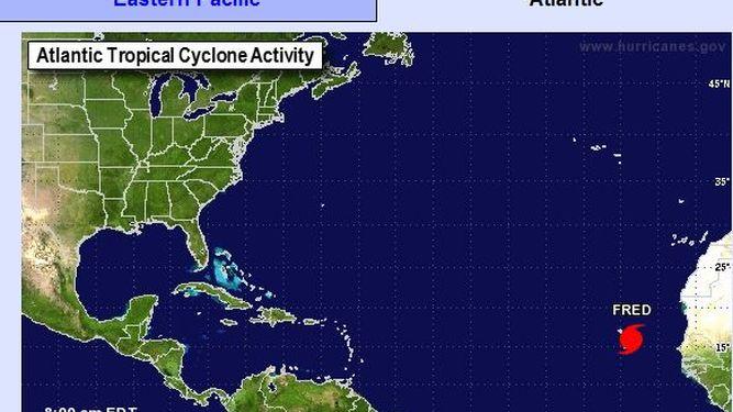 Ubicación del huracán Fred, que, según expertos, se disipará en el Atlántico. (Foto: Internet).