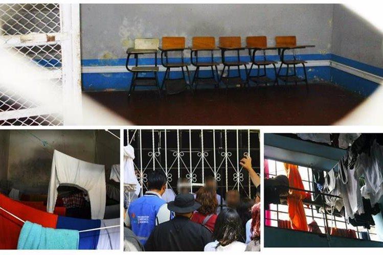 Se ordenó el cierre de un área del centro de detención de menores Etapa 2, por las condiciones infrahumanas en que alberga a los adolescentes. (Foto Prensa Libre: PDH)
