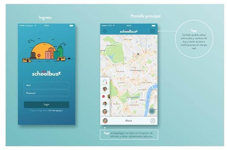 Página de inicio de la aplicación SchoolBuzz. (Foto Prensa Libre: Cortesía)