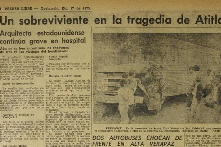 El 17 de diciembre de 1975, seis personas murieron ahogadas en el Lago de Atitlán. (Foto Hemeroteca PL)