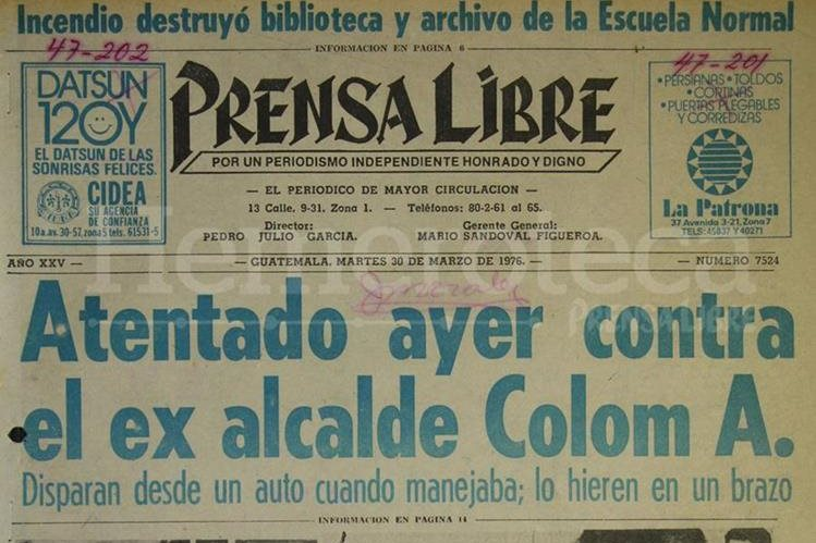Titular de Prensa Libre del 30 de marzo de 1976. (Foto: Hemeroteca PL)