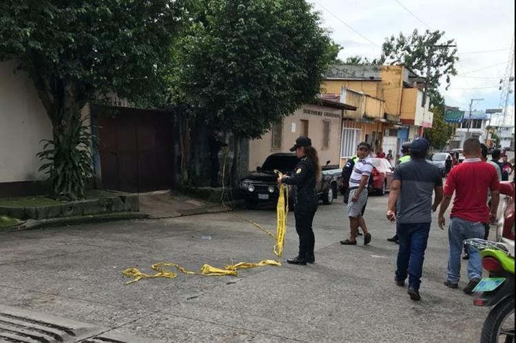 Lugar en el que fueron atacados a balazos directivos del Deportivo Malacateco. (Foto Prensa Libre: Cortesía)